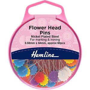 Flower Head Pins - Assorted Colours 60 pcs