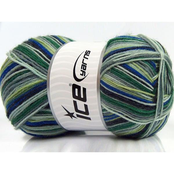 Sock Yarn - Blue, Green & Grey 2