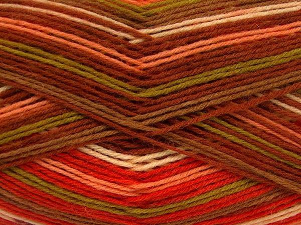 Sock Yarn Brown, Green, Orange, Salmon