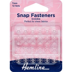 Snap Fasteners Invisible 7mm Clear 12 Sets