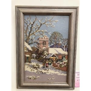 framed tapestry winter scene