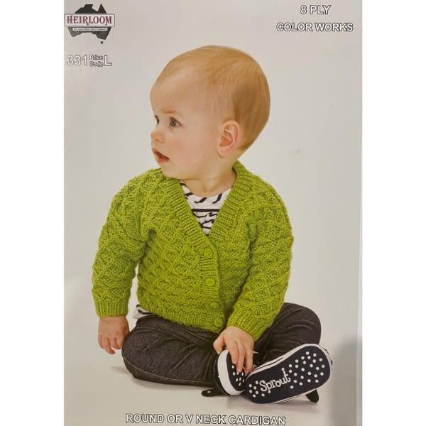Round or V Neck Cardigan - Knitting Pattern Leaflet