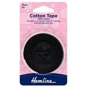 Cotton Tape 100% Cotton 25mm Black 5 m