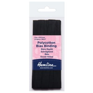 Polycotton Bias Bindings 12mm Black