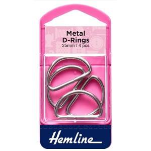 D-Ring Buckles 25mm Nickel 4 pcs