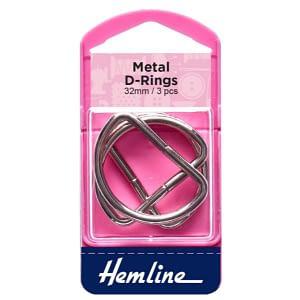 D-Ring Buckles 32mm Nickel 4 pcs