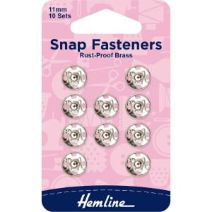 Snap Fasteners 11mm Nickel 10 Sets