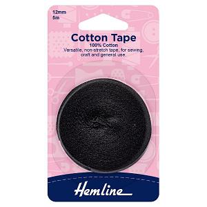 Cotton Tape 100% Cotton 12mm Black 5 m