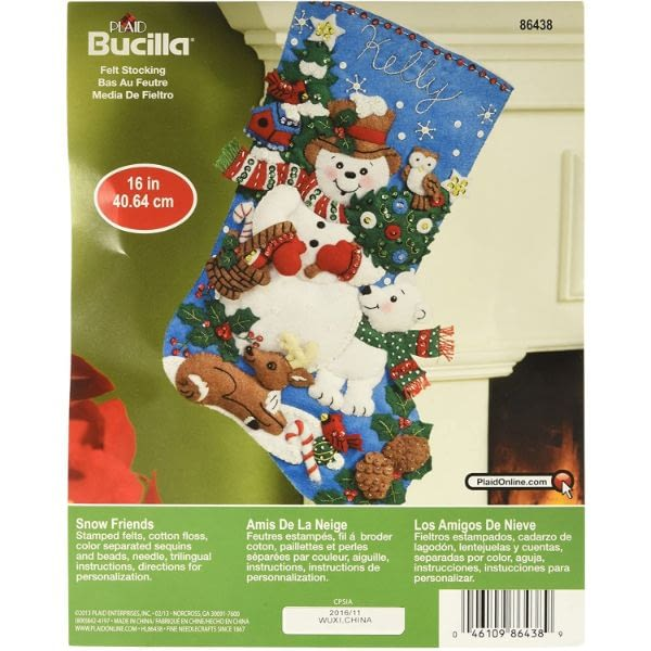 Bucilla Snow Friends Felt Applique Stocking Kit (16-Inch)