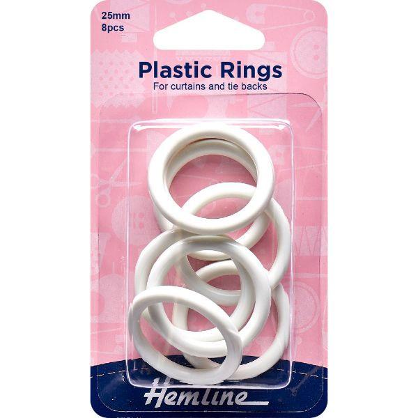Plastic Rings 25mm White 8 pcs