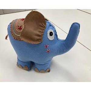 Blue Elephant - Handmade Plush Toy