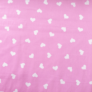 White Hearts on Pink - Cotton Print