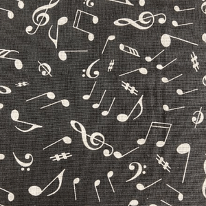 White Music Notes on Black - Cotton Print