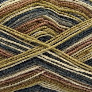Sock Yarn - Green, Cream, Camel & Jeans Blue